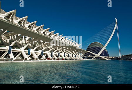 Valencia's City of Arts and Sciences with Prince Felipe Museum of Science at left and Hemisferic suspension bridge - Stock Photo