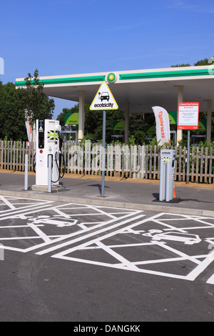 Ecotricity Electric Highway vehicle electric car charging point at Michaelwood Services Gloucestershire on the M5 - Stock Photo