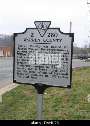WARREN COUNTY Warren County was named for Joseph Warren, the revolutionary patriot who sent Paul Revere and William - Stock Photo