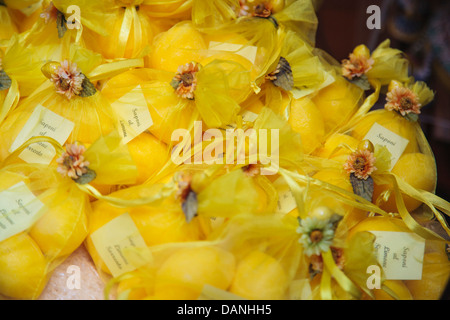 Lemon soap for sale in a local shop in Sorrento, Italy. - Stock Photo
