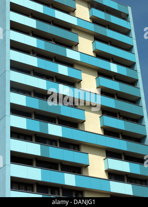 Large residential city tower blocks West Midlands near Wolverhampton England UK - painted blue and Teal - Stock Photo