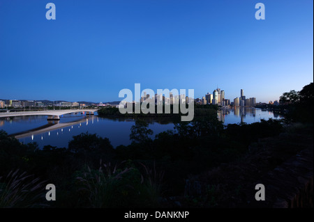 Brisbane central business district nestled behind the Botanical Gardens - Stock Photo