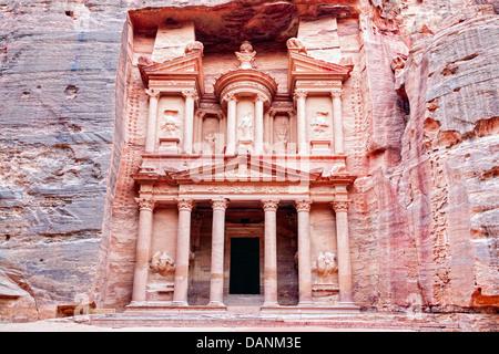Al Khazneh or Treasury in Petra, Jordan - Stock Photo