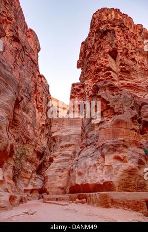 Al-Siq - canyon leading to Petra in Jordan - Stock Photo