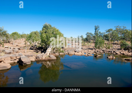 Mary Pool, formed by rocks in the bed of the Mary River, 182 km of Fitzroy Crossing in the Kimberley – home to crocodiles - Stock Photo