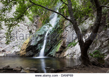 Sturtevant Falls at Big Santa Anita Canyon, Angeles National Forest, California - Stock Photo