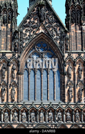 Front window view of the Cathedral, Lichfield, Staffordshire, England, Western Europe. - Stock Photo