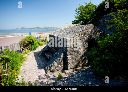 St. Trillo's Chapel on the promenade at Rhos On Sea. The smallest chapel in Wales. Pic Colin Paxton/CP Photography - Stock Photo