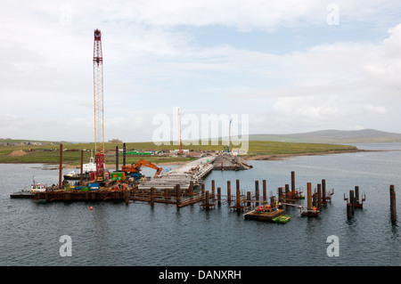 Development of a new pier at Copland's Dock, Sromness, Orkney. - Stock Photo