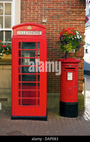 Telephone and post boxes together, Sidmouth, Devon - Stock Photo