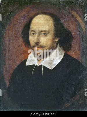 WILLIAM SHAKESPEARE (1564-1616) The Chandos portrait commonly held to be of the Shakespeare between 1600 and 1610 - Stock Photo