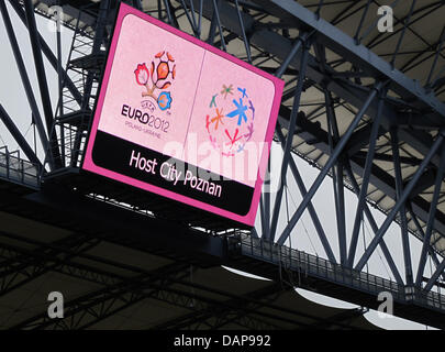 The logo of EURO 2012 is featured at the soccer stadium in Poznan, Poland, 09 June 2011. The stadium in Poznan is - Stock Photo