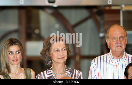 Spanish King Juan Carlos, Queen Sofia (C) and Princess Letizia arrive at Real Club Nautico during the 30th edition - Stock Photo