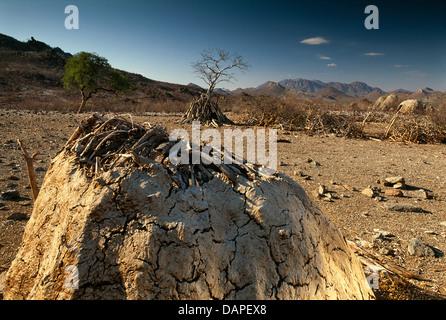 A himba kraal in Angola. - Stock Photo