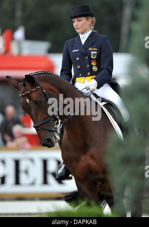 German eventing rider Julia Mestern rides her horse Schorsch during the dressage event of the European Eventing - Stock Photo