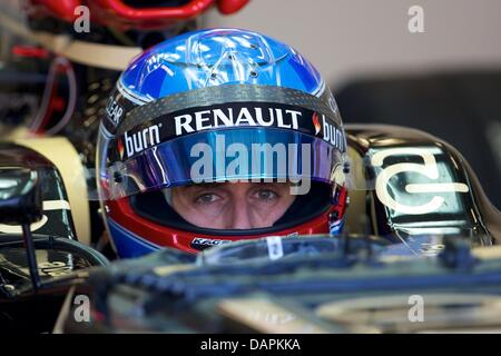 Silverstone, UK. 17th July, 2013. Lotus F1 Team driver Nicolas Prost during the Formula One young drivers test at - Stock Photo