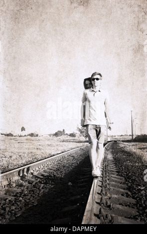 artwork in retro style, couple - Stock Photo