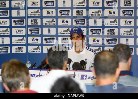 London, UK. 17th July, 2013. England's captain Alastair Cook's press conference after the England team net and training - Stock Photo