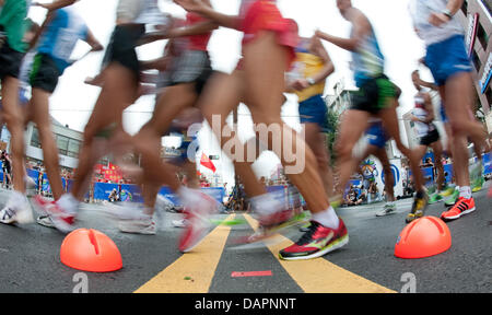 Athletes compete at a the Men's 20km Race Walk of 13th IAAF World Championships in Athletics, in Daegu, Republic - Stock Photo