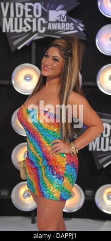 Actress Deena Nicole Cortese ('Jersey Shore') arrives at the 28th Annual MTV Video Music Awards at Nokia Theatre - Stock Photo