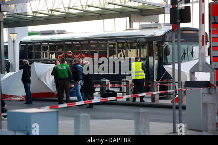 (dpa file) - A file picture dated 02 March 2011 of an USArmy military bus standing at Terminal 2 of the airport - Stock Photo