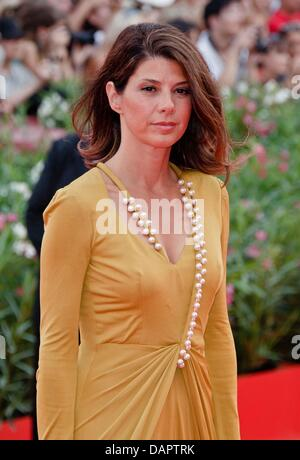 Actress  Marisa Tomei arrives at the premiere of 'The Ides Of March' during the 68th Venice International Film Festival - Stock Photo