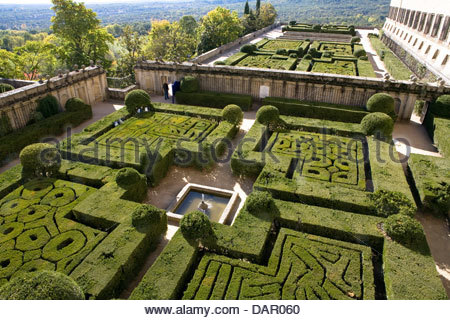garden,Royal Seat of San Lorenzo de El Escorial,San Lorenzo de El Escorial,spain - Stock Photo