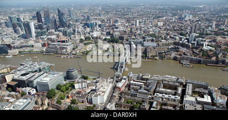aerial view of London from Bermondsey across the Thames with the Tower of London, City Hall, Tower Bridge and the - Stock Photo