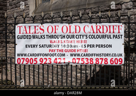 Banner advertising Tales of Old Cardiff City Walk - Stock Photo