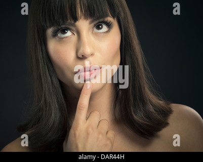 Beautiful latina woman dark brown brunette hair. - Stock Photo