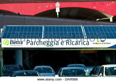 electric car charging,Guglielmo Marconi Airport,bologna,emilia romagna,italia - Stock Photo