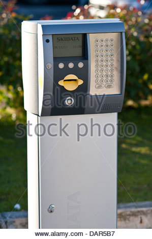 parking meter,Guglielmo Marconi Airport,bologna,emilia romagna,italia - Stock Photo
