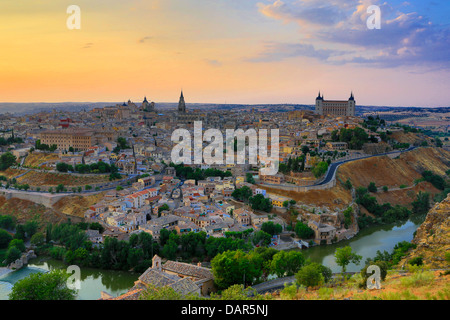 Scenic view of the old city of Toledo in Spain - Stock Photo