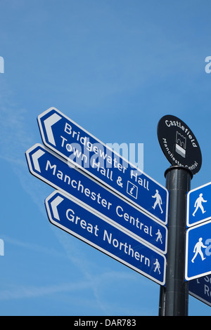 England, Manchester street sign in Castlefield district - Stock Photo