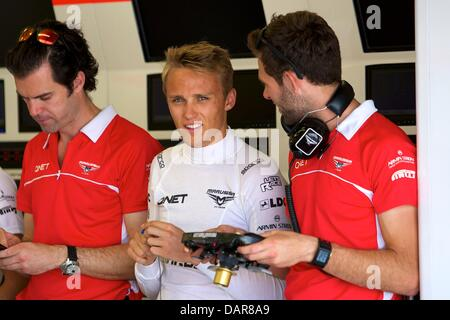 Silverstone, UK. 17th July, 2013. Marussia F1 Team driver Max Chilton during the Formula One young drivers test - Stock Photo