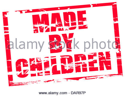 Digital composite Rubber stamp. Made by children. - Stock Photo
