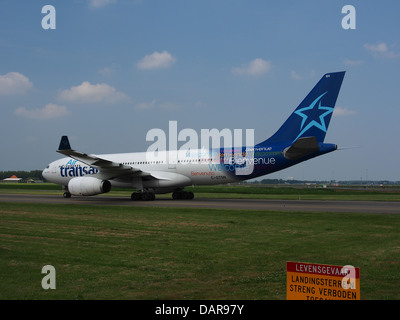 an air transat airbus a330 jet airliner landing at vancouver stock photo royalty free image