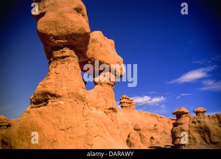 Sandstone formations in Goblin Valley State Park near Hanksville, Utah USA. - Stock Photo