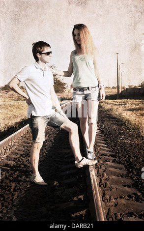 artwork in grunge style, couple - Stock Photo
