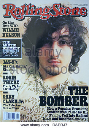 July 17, 2013 - California, USA - The August 1, 2013 issue of Rolling Stone Magazine features on the cover a portrait - Stock Photo