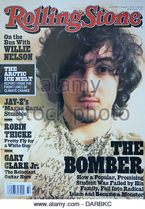 July 17, 2013 - California, U.S. - The August 1, 2013 issue of Rolling Stone Magazine features on the cover a portrait - Stock Photo