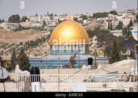 Israel Jerusalem Old City rooftop view cityscape Dome of the Rock Haram esh Sharif Mount of Olives & Church of St - Stock Photo