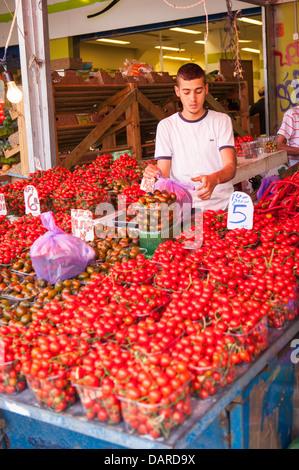 Israel Tel Aviv Carmel Market greengrocer stall shop store fresh tomato tomatoes red black plastic pannets serving - Stock Photo