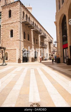 Israel Jerusalem Alrov Mamilla Avenue Mall pedestrian precinct luxury shopping street lane designer shops boutiques - Stock Photo