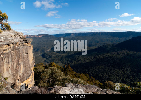View over the Jamison Valley, at Sublime Point, Blue Mountains, Australia - Stock Photo