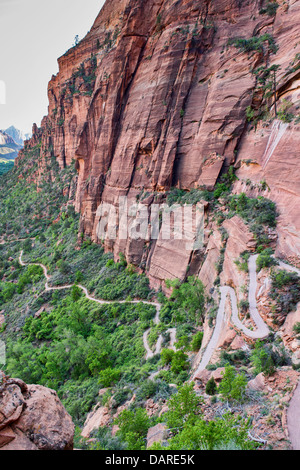Walter's Wiggles on the Angels Landing Trail, Zion National Park, Utah - Stock Photo