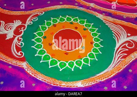 Colorful Rangoli during Diwali festival, Maharashtra, India - Stock Photo