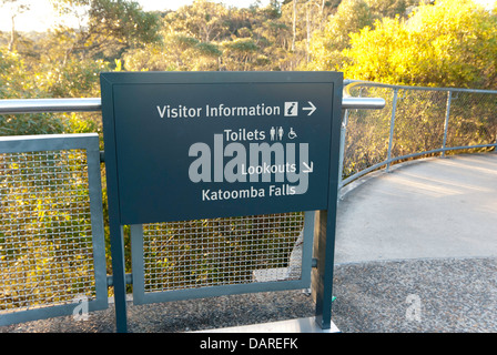 Directional signage at the Three Sisters lookout, Echo Point, Katoomba, New South Wales, Australia - Stock Photo