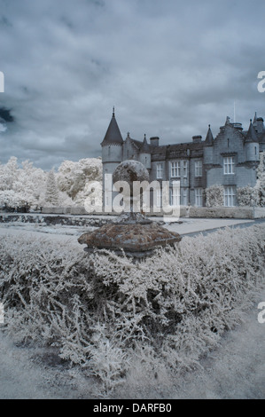 Vertical Infrared image taken from corner of garden in front of Balmoral Castle, the Scottish summer residence of - Stock Photo