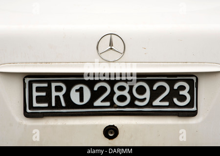 Africa, Eritrea, Massawa, Old Town, Eritrean vehicle number plate on rear Mercedes car - Stock Photo